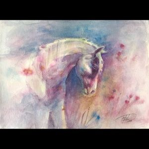 Original Painting horse equestrian art by artist
